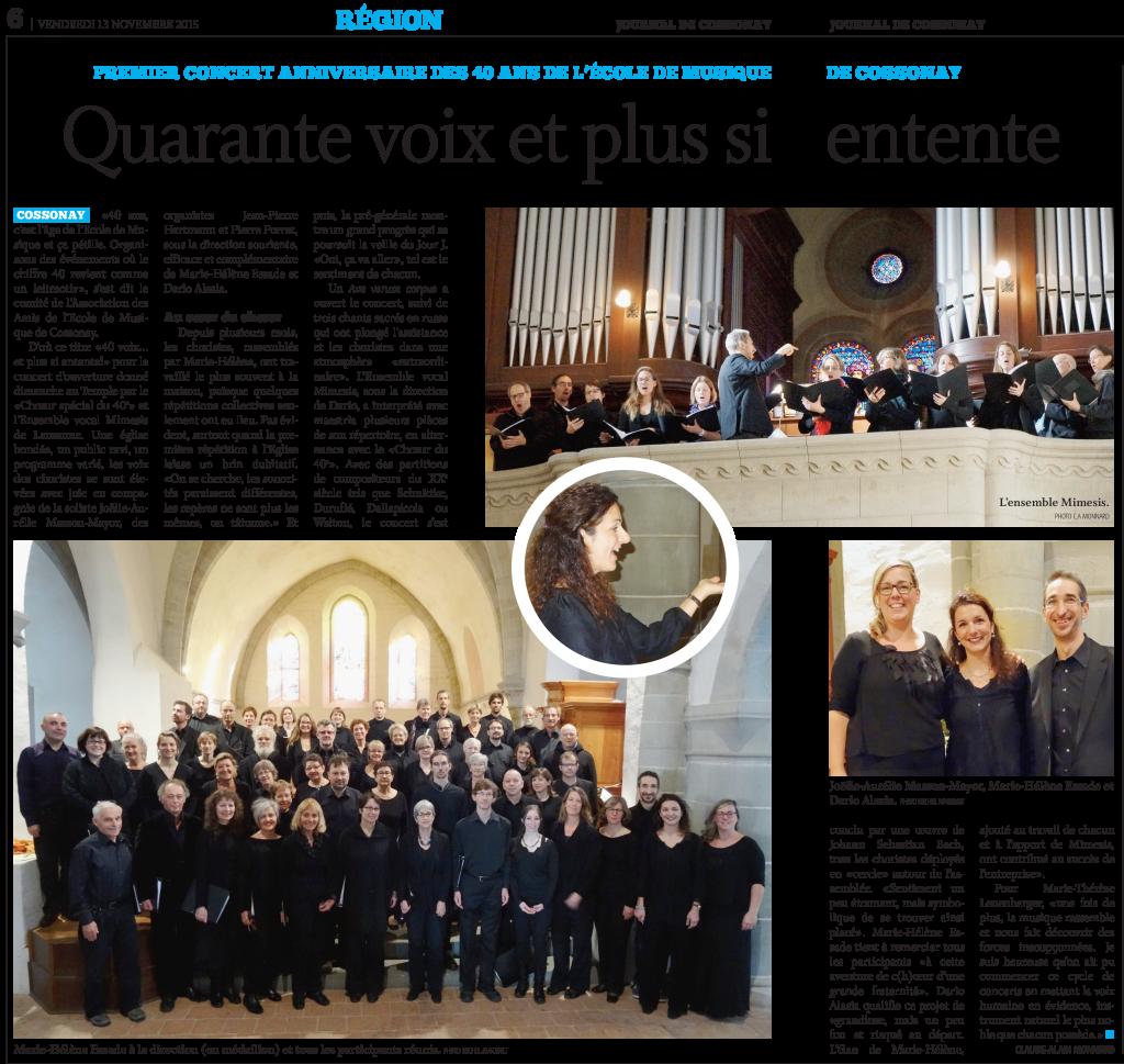 Concert Anniversaire Ecole de Musique au Temple de Cossonay